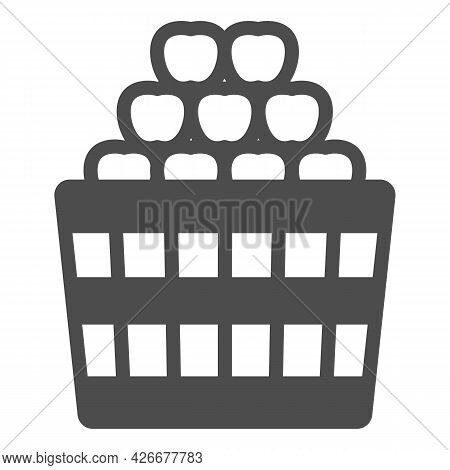 Basket Full Of Apples Solid Icon, Fruit Harvest Concept, Full Box Of Apples Vector Sign On White Bac