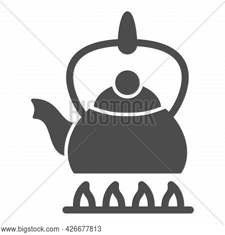Kettle On Fire Solid Icon, Kitchen Ware Concept, Teapot On Gas Stove Vector Sign On White Background