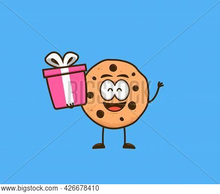 Cute Cookies Snack Cartoon Character Mascot Carry Giveaway Gift Graphic Illustration Vector