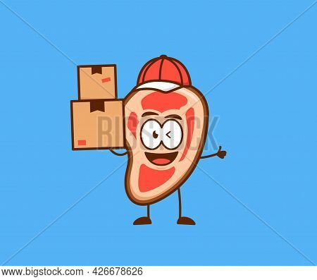 Cute Meat People As Courier Delivery Carry Pile Of Box Parcel Package With Smile And Thumbs Up Carto
