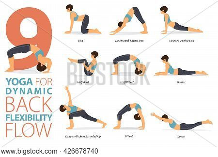 Infographic 9 Yoga Poses For Workout At Home In Concept Of Back Flexibility In Flat Design. Women Ex