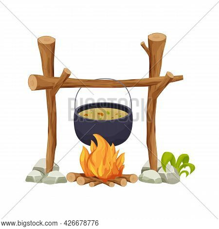 Black Camping Pot Over A Campfire In Cartoon Style Isolated On White Background. Wooden Sticks, Fire