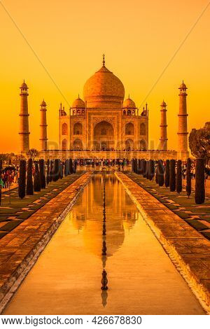 Agra, Uttar Pradesh, India - March 26: Sunset View Of The Famous Taj Mahal In India - A Unesco World