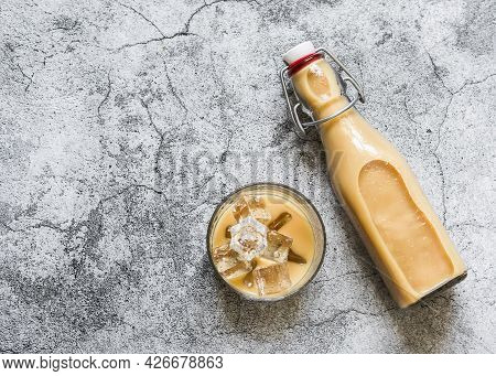 Cold Masala Iced Tea On A Gray Background, Top View.refreshing Invigorating Drink In The Indian Styl