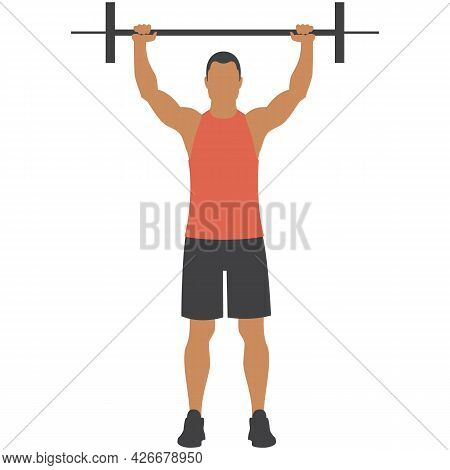 Man With Barbell Vector Weight Lifting Gym Fitness Exercise