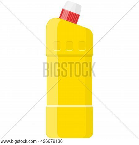 Plastic Bottle With Cleaner Vector Chemical Detergent On White