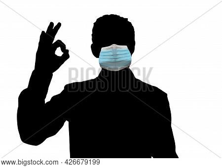 Man Covering Face With Mask During Covid-19 Epidemic And Gesturing Ok. Im Fine. Are You Okay Consent