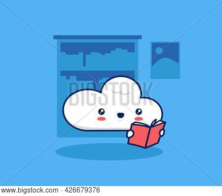 Cute Cloud Character Mascot Reading Book In Library. Internet Digital Library Vector Illustration Co