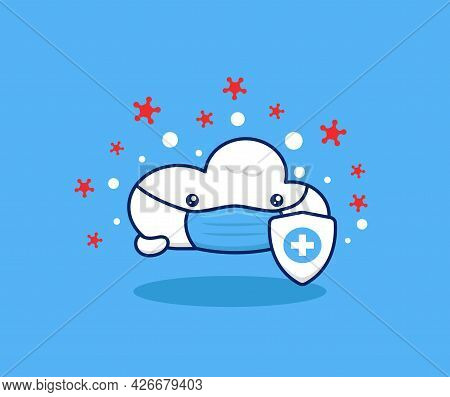 Cute Cloud Wear Face Mask Health Protocol Protection Illustration. Cloud Health Network Technology M
