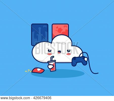 Cute Cloud Play Video Games Console Illustration. Internet Cloud Gaming Game Streaming Platform Tech