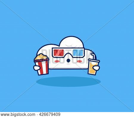 Cute Cloud Movie Lover Watching Movie With 3d Glasses, Popcorn, And Drink In Cinema Illustration. In