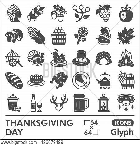 Thanksgiving Day Line Icon Set, Harvest Celebration Symbols Collection Or Sketches. Gratitude Glyph