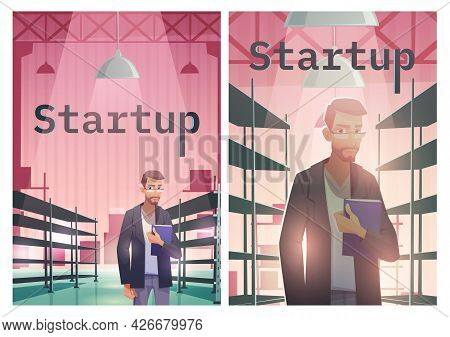 Startup Cartoon Poster, Successful Businessman With Document Folder In Hand Stand At Warehouse With