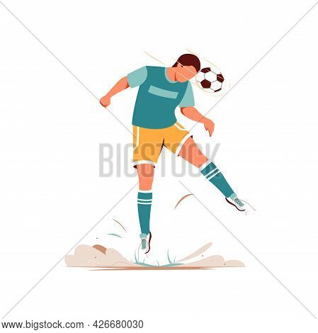 Football Players. Soccer Sportsman, People Playing With Ball. Athlete Goal And Kick, Isolated Sport