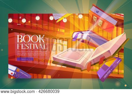 Books Festival Cartoon Landing Page, Glowing Bestsellers Flying Over Bookshelf. Fest Event In Bookst