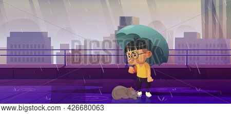 Boy Under Umbrella With Homeless Cat Protect Pet From Autumn Rain. Animal Rescue, Protection, Suppor