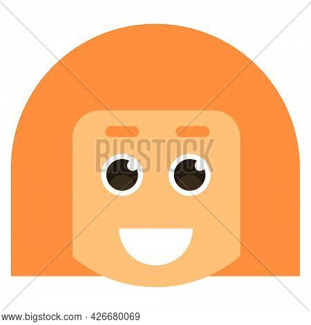 Avatar Face Smiling Woman. Vector Illustration. Female Cartoon Icons.