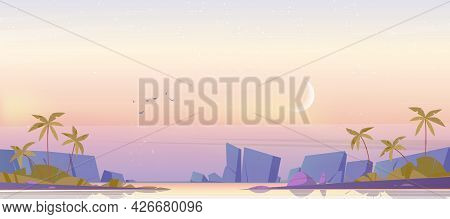 Tropical Landscape With Sea Bay, Palm Trees And Mountains On Horizon In Morning. Vector Cartoon Illu