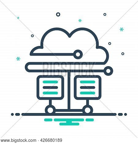 Mix Icon For Cloud-database Cloud Hosting Server Database Storage Technology Connectivity Transfer