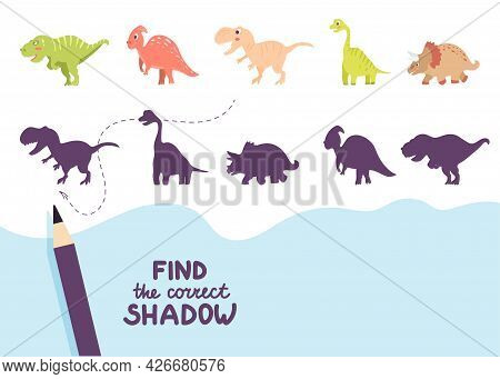 Find The Correct Shadow. Cute Dinosaurs. Educational Game For Kids. Collection Of Children's Games.