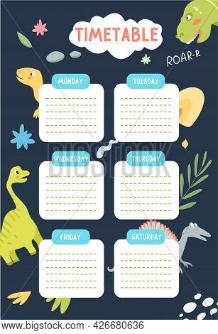 School Timetable Template For Kids With Dinosaurs In The Background. Vector Illustration With Cute D