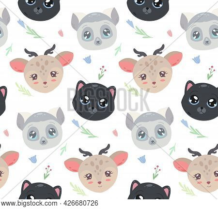 Cute Childish Pattern With Portrait Of Animal And Flowers On White Background. Vector Texture With L