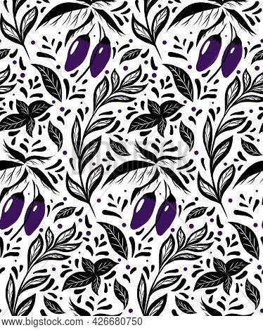 Seamless Monochrome Pattern With Eggplants On The Bushes, Basil Twigs And Doodle Decoration On White