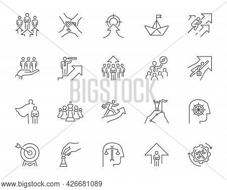 Leader Line Icons. Collection Representing Concept Of Leadership In Business. Editable Stroke.