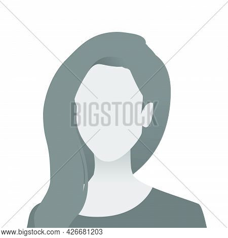 Default Avatar Photo Placeholder Icon. Grey Profile Picture. Woman In T-shirt