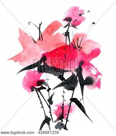 Watercolor And Ink Illustration Of Pink Flowers Bouquet On White Background. Oriental Traditional Pa