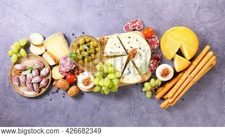 antipasto- cheese,  bread sticks and sausage