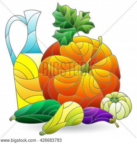 An Illustration In A Stained Glass Style With A Still Life, Vegetables Isolated On A White Backgroun
