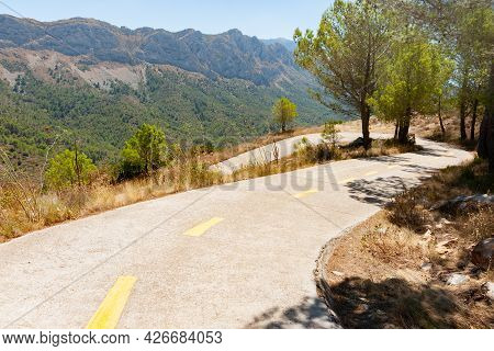 Road Through Coll De Rates Winding Downhill Through Trees And Golden Summer Dried Grass Lining Roads