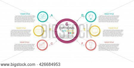 Circle Workflow Process Infographic For 6 Options, Eps10 Vector  (divided Into Layers In File), Busi