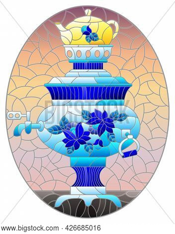 Illustration In The Style Of Stained Glass With A Bright Painted Russian Samovar On The Table On A R