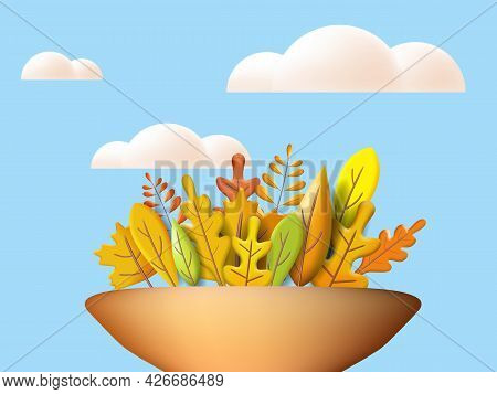 Autumn Leaves 3d Yellow, Red, Brown, Orange Colors. Fall Bouquet In Vase, White Cloud. Minimal 3d Re