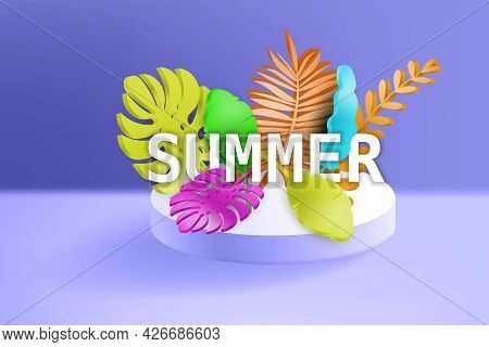 3d Tropical Leaves Scene Podium With Text Summer, Botanical Background. Render Vector Foliage Pedest