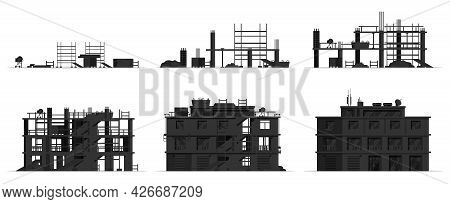 Construction Site Stages Silhouette Isolated On White. Different Stages Of Construction Process. Bui