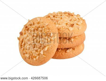 Shortbread Biscuits With Peanut Crumbs Isolated On White