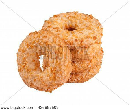Shortbread Rings With Sugar And Peanut Crumbs Isolated On White