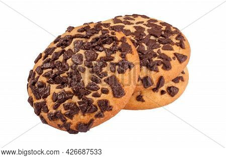 Almond Biscuits With Chocolate Crumbs On White Background