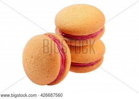 Shortbread Sandwich Cookies With Berry Curd Isolated On White