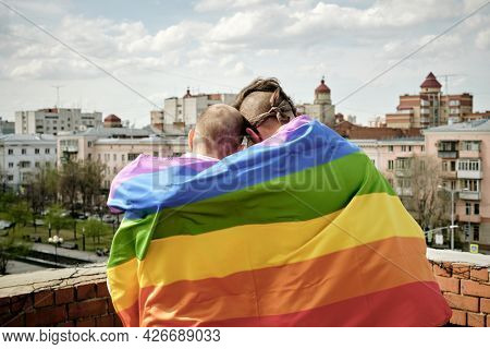 Rear view of two gay men wrapped in rainbow flag standing on rooftop and looking at city