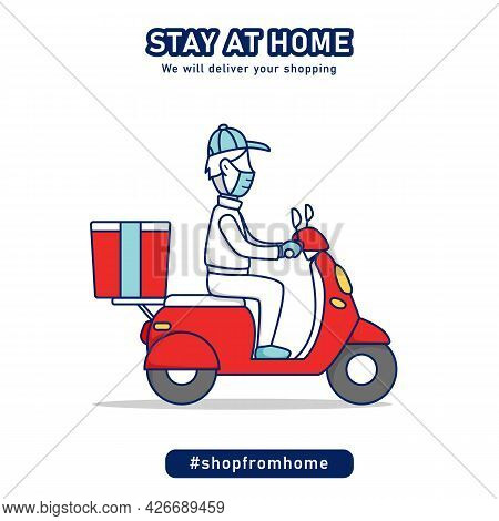 Shop From Home Shopping Delivery Man Riding Scooter Vespa Bike Delivering Grocery Package Concept Ca