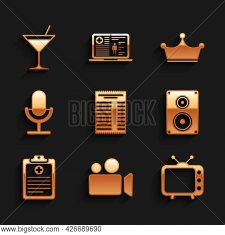 Set Paper Or Financial Check, Movie Video Camera, Television Tv, Stereo Speaker, Clinical Record And