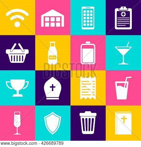 Set Holy Bible Book, Glass With Water, Martini Glass, Mobile Apps, Bottle Milk And Cap And Shopping