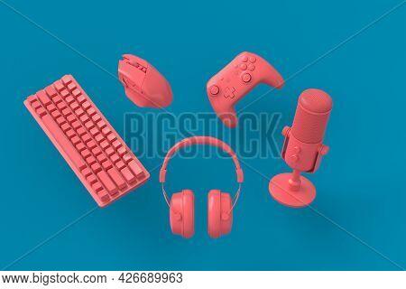 Flying Gamer Monochrome Gears Like Mouse, Keyboard, Joystick, Headset, Vr Headset. Microphone On Blu