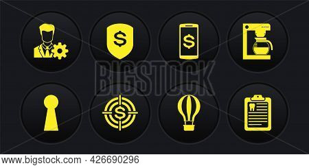 Set Keyhole, Coffee Machine With Pot, Target Dollar, Hot Air Balloon, Smartphone And Shield And Icon