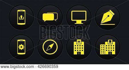Set Setting On Smartphone, Fountain Pen Nib, Wind Rose, Medical Hospital Building, Computer Monitor