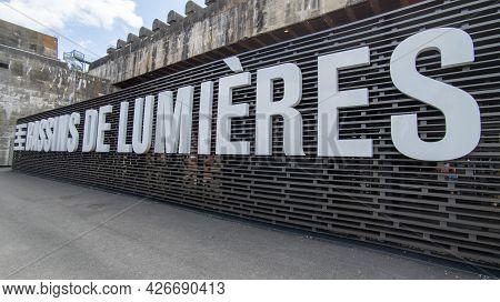 Bordeaux , Aquitaine France - 07 07 2021 : Les Bassins De Lumieres Immersive Monumental Digital Exhi